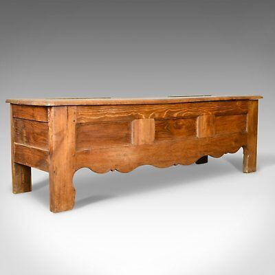 Antique Coffer, Long, French, Oak, Blanket Chest, Trunk, Circa 1800