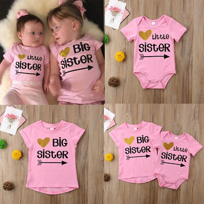 Baby Kids Girls Little Big Sister Match Clothes Jumpsuit Romper Outfits T-Shirts