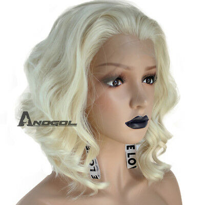 Anogol Synthetic Hair 613 Blonde Lace Front Wig Bob Short Curly Wigs For Women