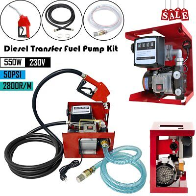 230V Wall Mounted Diesel Electric Transfer Fuel Pump Kit w/Automatic Nozzle 550W