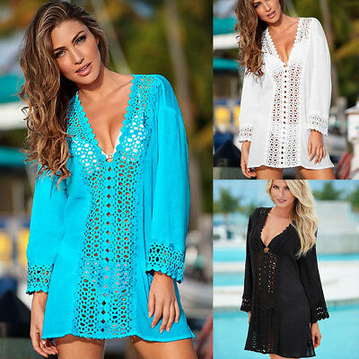 Women Summer Lace Crochet Bikini Cover Up Swimwear Bathing Suit Beach Dress Tops