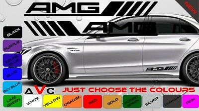 2X 50CM Mercedes AMG C63 Edition Side Racing STICKERS Graphic Decals