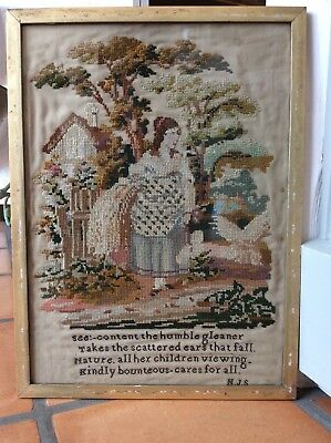 Antique Georgian Woolwork Embroidered Picture Poem Needlework Textile Sampler