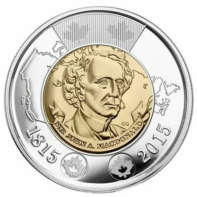 2015 John A Macdonald Toonie $2 Dollar All New From  Roll Unc