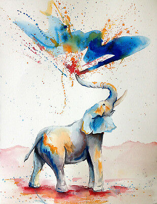 Unframed Canvas Print A3 Size High Quality Watercolor Elephant Water Home Decor
