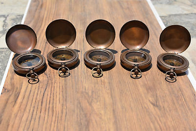LOT OF 5 PCS Handmade Antique Brass Push Button Direction Pocket Compass
