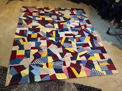 """Hand Made Crazy Quilt Top Vintage Zig Zag Sewn and Overcasting. 71"""" x 81"""""""