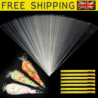 50 Clear Cellophane Cone Bags Large 18x37cm Kids Party Plastic Cello Sweet Bag