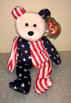 Ty Beanie Babies 4Th Of July 1999 Spangle Pink Face Rare Error