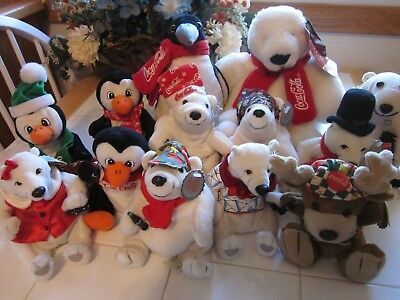 Lot of 13 Coca Cola plush bean bag bears penguins reindeer all with tags