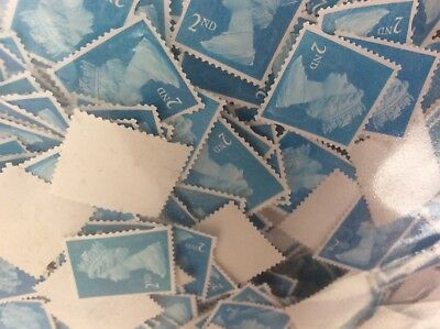 500 second 2nd class unfranked stamps ready to gum plus extras GB