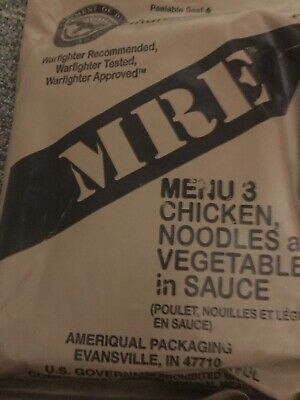 (1)Genuine Us Military Issue Mre Meal Ready To Eat 1069 Menu #1,2,3,9,14