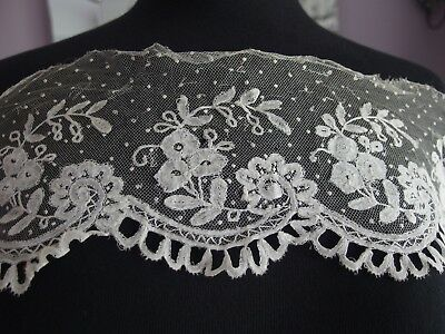 antique embroidered lace trim Brussels applique