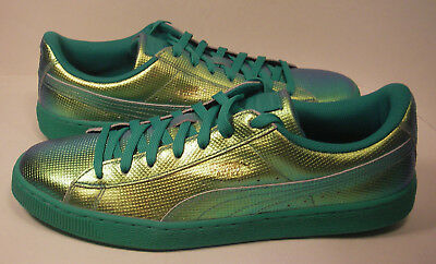 PUMA Green Flash Basket Classic Holographic Leather Sneaker Shoes Men s 13M  NWOB 95a7a48a9
