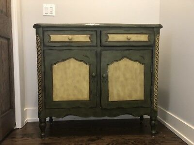 Beautiful Distressed Hall Table, Chest Green And Tan