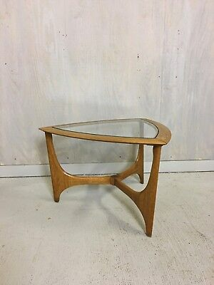 Mid Century Modern Lane Glass And Oak Side Table Accent End