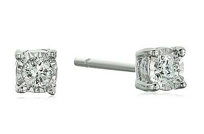 Natural Diamond Miracle Plate Stud Earrings (1/20 cttw, G-H Color, I2 Clarity)