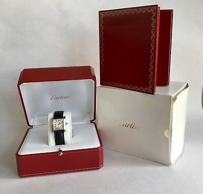 20122e53b290 Vintage Cartier Tank Francaise Stainless Steel Ref 2465 Black Leather Watch
