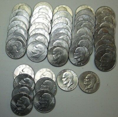 Lot of 48 Eisenhower IKE Dollars Coins Lot Different Dates & Mints Type, Auction