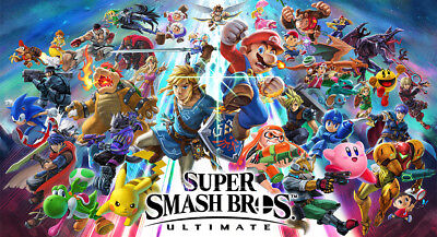 "Super Smash Bros. Ultimate Poster 57x32"" 43x24"" 25x14"" Game New 2018 Mario Silk"