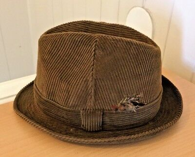 """Dunn and Co Hat Brown Corduroy Trilby Size 7 1/4"""""""