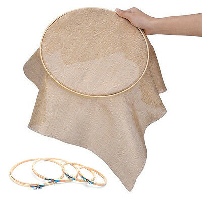 1Pc Wooden Cross Stitch Machine Embroidery Hoop Ring Bamboo Sewing 13-26cm M&R