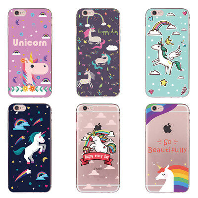 Unicorn Patterned Soft Rubber Gel Silicone Cover TPU Case For iPhone 7/5/6 Plus