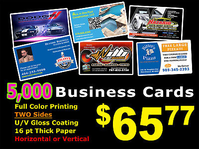 LOOK 5,000 BUSINESS CARDS - Full Color UV Gloss Personalized Custom Must See!!!