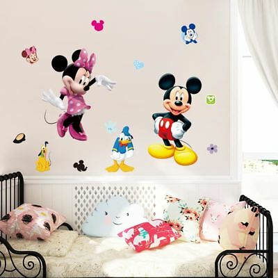 Mickey Minnie mouse cartoon wall stickers for kids room decorations movie wall a