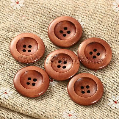 "50pcs 25mm(1"") Dia Coffee Brown 4 Holes Round Wood Sewing Scrapbooking Buttons"