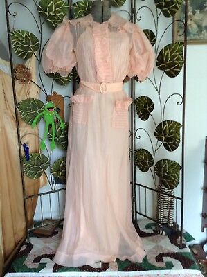 Vintage 30s Ladies 2 Pc Peach Nylon Full Length Gown Robe Set