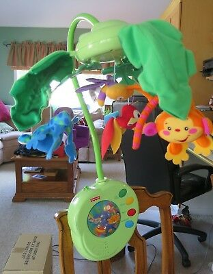 Fisher-Price Rainforest Peek-a-Boo Leaves Musical Mobile Toy for Crib READ