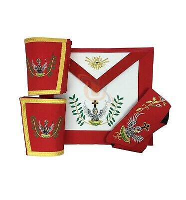 Masonic SCOTTISH RITE 18th Degree Apron Set apron,Collar gauntlets (Cuffs)