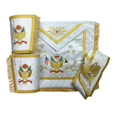 Masonic SCOTTISH RITE 33rd Degree Wings Up Set Apron,Collar gauntlets