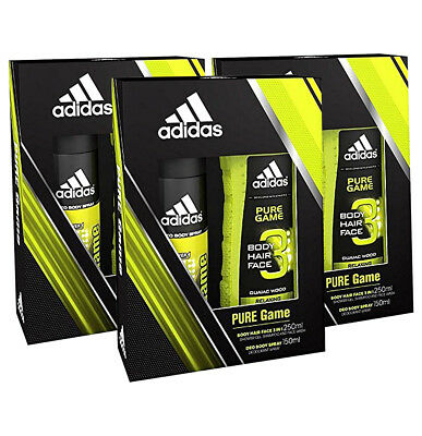40ddc8c1733c 3 Pack Adidas Pure Game 2 Piece Set Men Deo Body Spray 150 ML Shower Gel