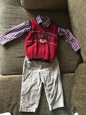 Dockers Boys Reindeer Christmas Outfit with corduroy pants size 3T