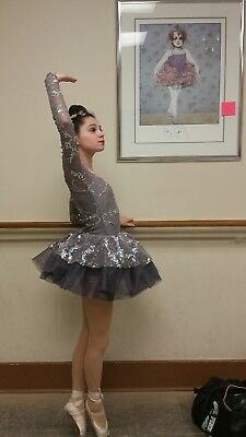 Girls dance costume size small adult silver leotard and tutu beautiful