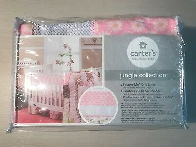 NEW!! Carter's Jungle Collection Pink Daisy Print Secure Me Crib Liner