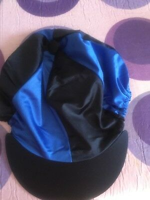 Navy & Royal Blue Riding Hat Silk Cover For Jockey Skull Caps One Size New