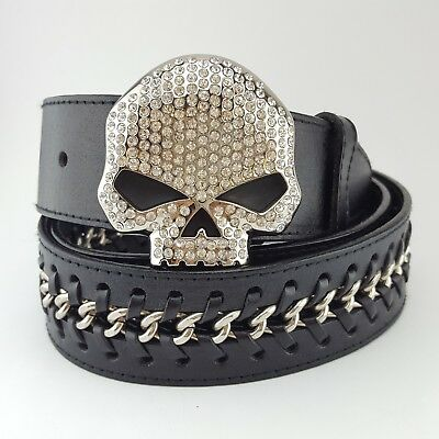 Harley Davidson Crystal Skull Buckle with laced up chain leather belt