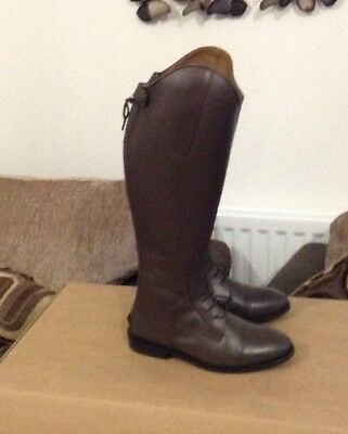 Brown HKM Spain Leather Field Boots Size 5 Uk 38 Euro