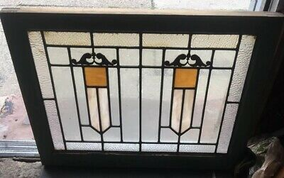 Antique American Architectural Deco Stained Leaded Glass Window