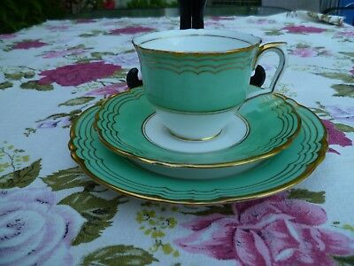 Lovely Vintage Crown Staffordshire China Trio Tea Cup Saucer Green Gilded 15162
