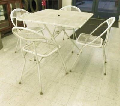 Vtg 5 Pc Salterini Rid-Jid White Wrought Iron Mid Century Patio Dining Set