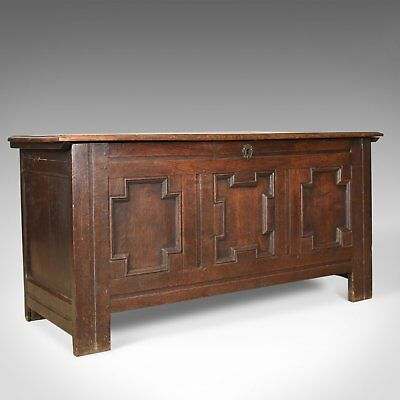 Antique Coffer, English, Georgian, Oak Joined Chest, Mid C18th Trunk Circa 1750