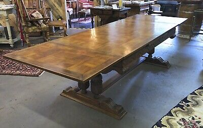 Antique French Parquet Trestle Dining Table with Dual Extensions