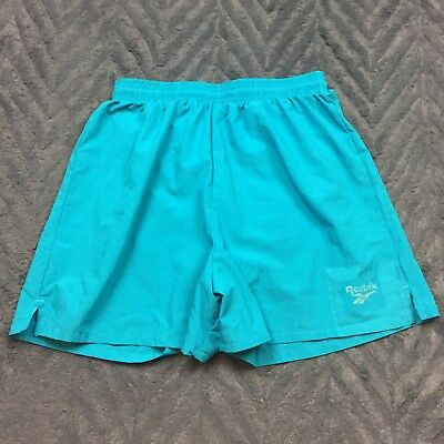 Vintage 90s Reebok Running Shorts Sz Medium Lined Made in USA Blue Teal Womens