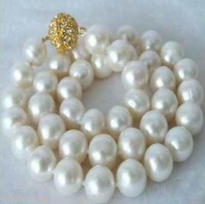 Genuine 9-10mm White Akoya Cultured Pearl Non-Round Necklace 18''AAA+