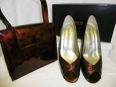 Roland Cartier Tortoise Shell Patent Leather Heeled Shoes And Handbag Size 6