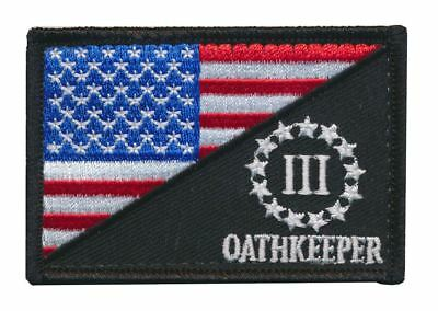 Patch Squad Men's Red White Blue USA Flag Three Percent Oath-Keeper Morale Patch
